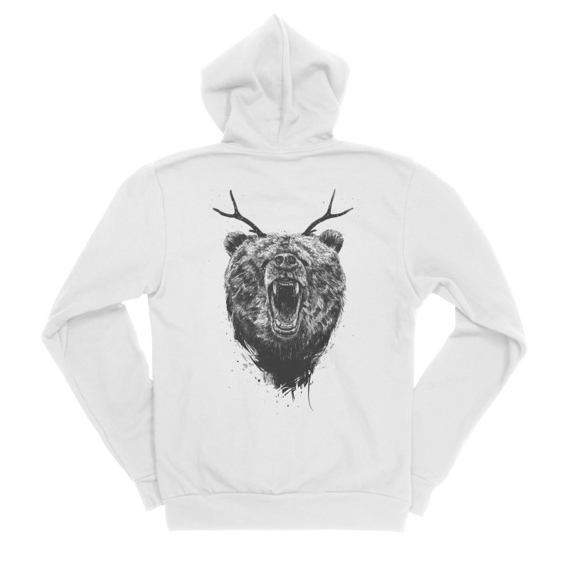 Angry bear with antlers Men's Sponge Fleece Zip-Up Hoody by Balazs Solti