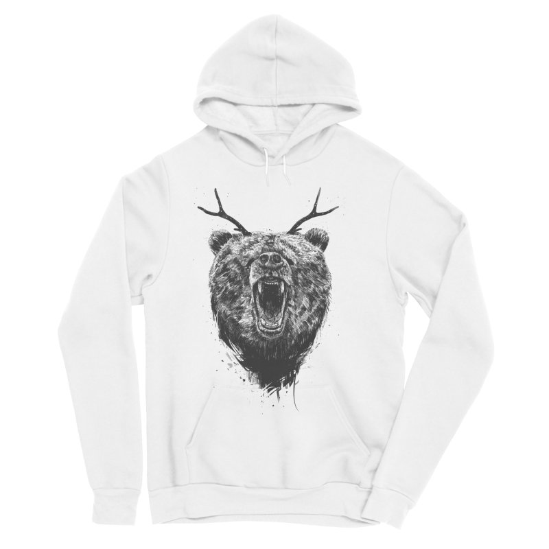 Angry bear with antlers Men's Sponge Fleece Pullover Hoody by Balazs Solti