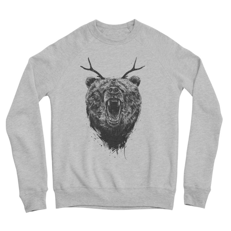 Angry bear with antlers Women's Sponge Fleece Sweatshirt by Balazs Solti