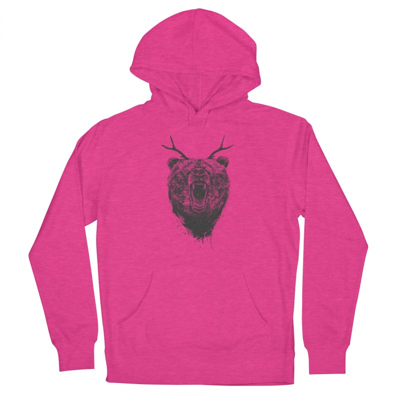 Angry bear with antlers Men's French Terry Pullover Hoody by Balazs Solti