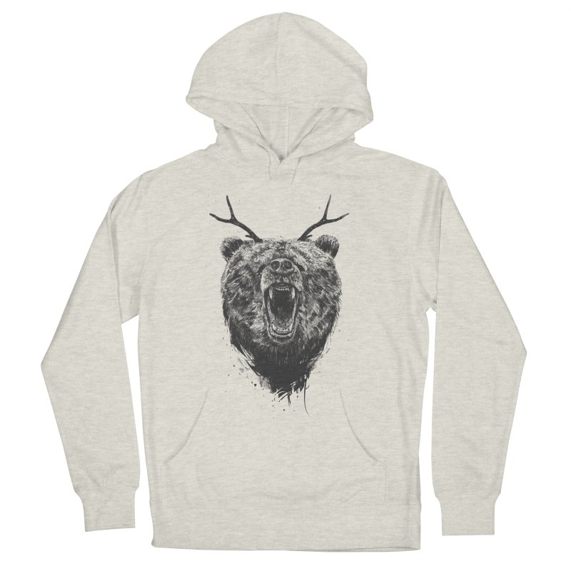 Angry bear with antlers Women's French Terry Pullover Hoody by Balazs Solti