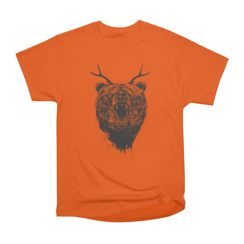 Angry bear with antlers Men's Heavyweight T-Shirt by Balazs Solti