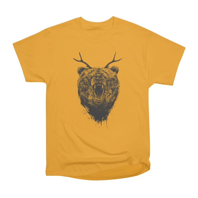Angry bear with antlers Women's Heavyweight Unisex T-Shirt by Balazs Solti