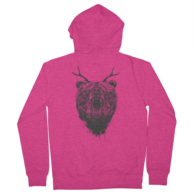 Angry bear with antlers Women's French Terry Zip-Up Hoody by Balazs Solti