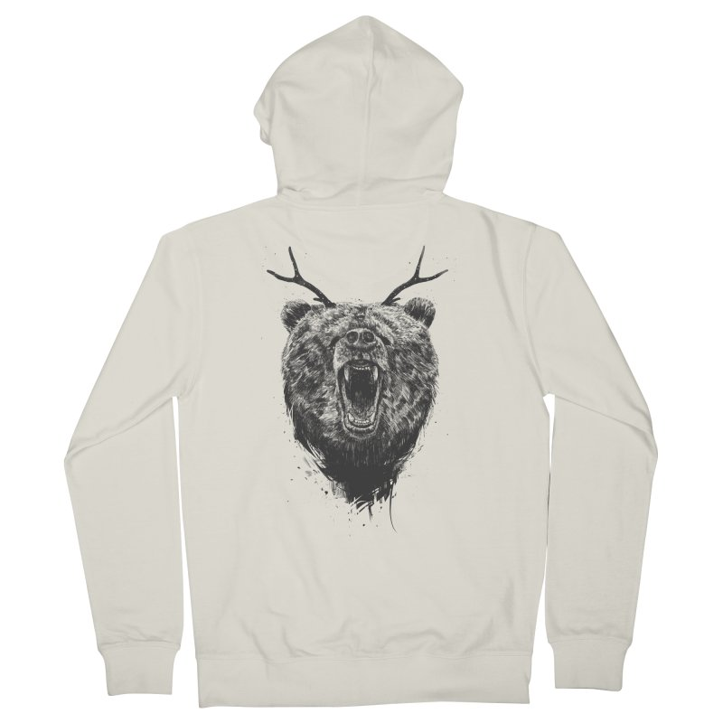 Angry bear with antlers Men's French Terry Zip-Up Hoody by Balazs Solti