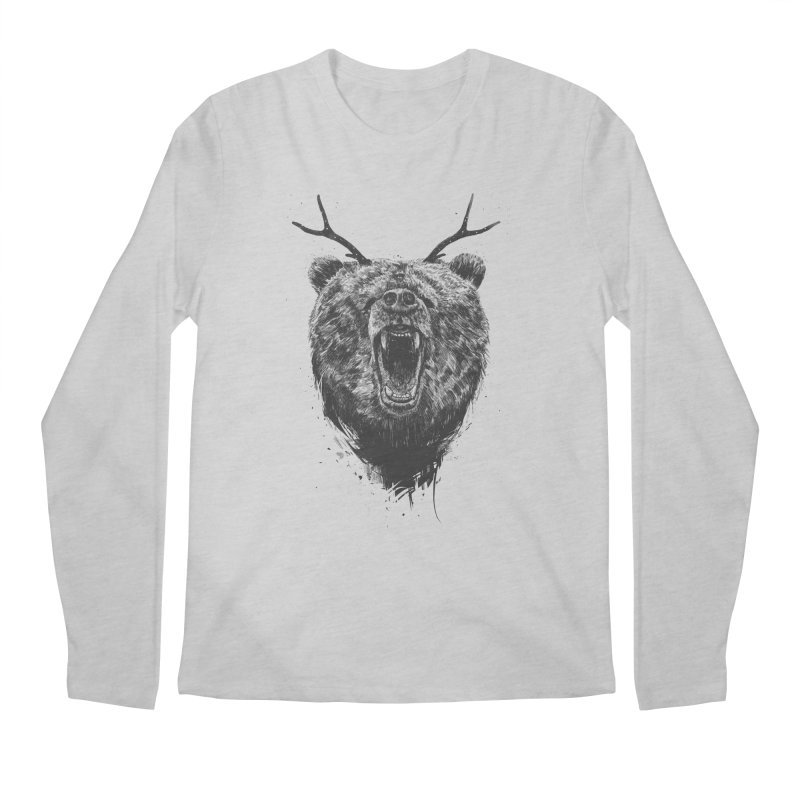 Angry bear with antlers Men's Regular Longsleeve T-Shirt by Balazs Solti