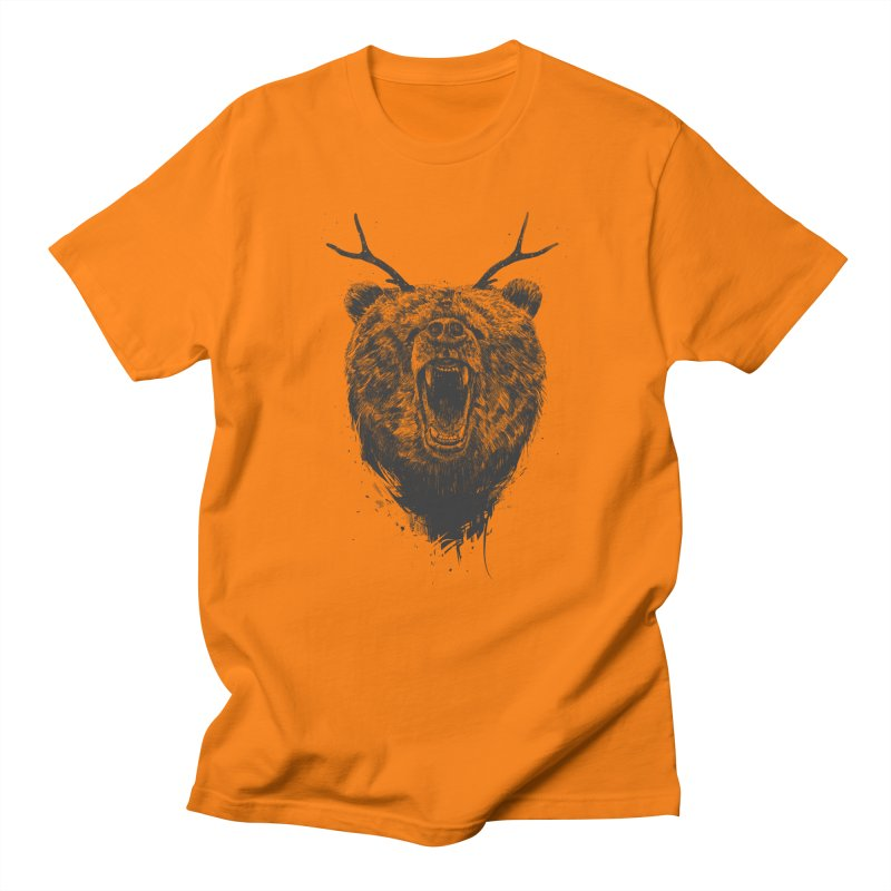 Angry bear with antlers Women's Regular Unisex T-Shirt by Balazs Solti