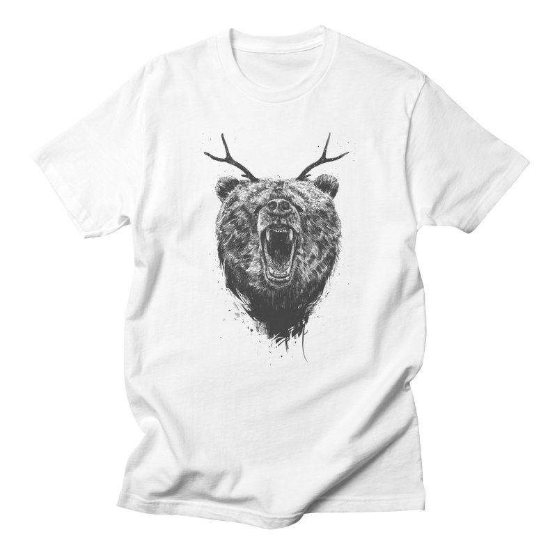 Angry bear with antlers Men's Regular T-Shirt by Balazs Solti