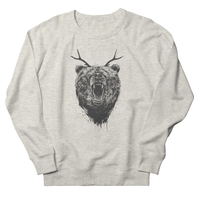 Angry bear with antlers Women's French Terry Sweatshirt by Balazs Solti