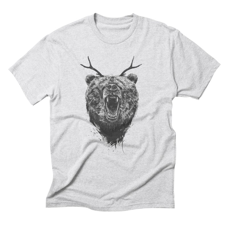 Angry bear with antlers Men's Triblend T-Shirt by Balazs Solti