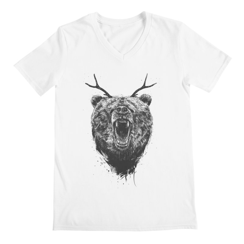 Angry bear with antlers Men's Regular V-Neck by Balazs Solti