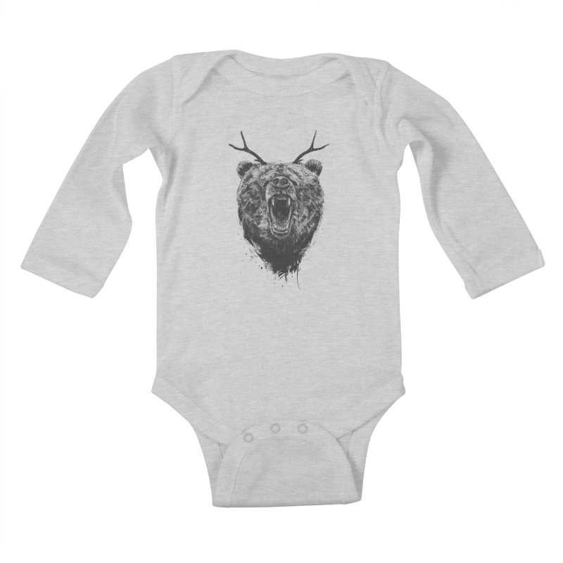 Angry bear with antlers Kids Baby Longsleeve Bodysuit by Balazs Solti