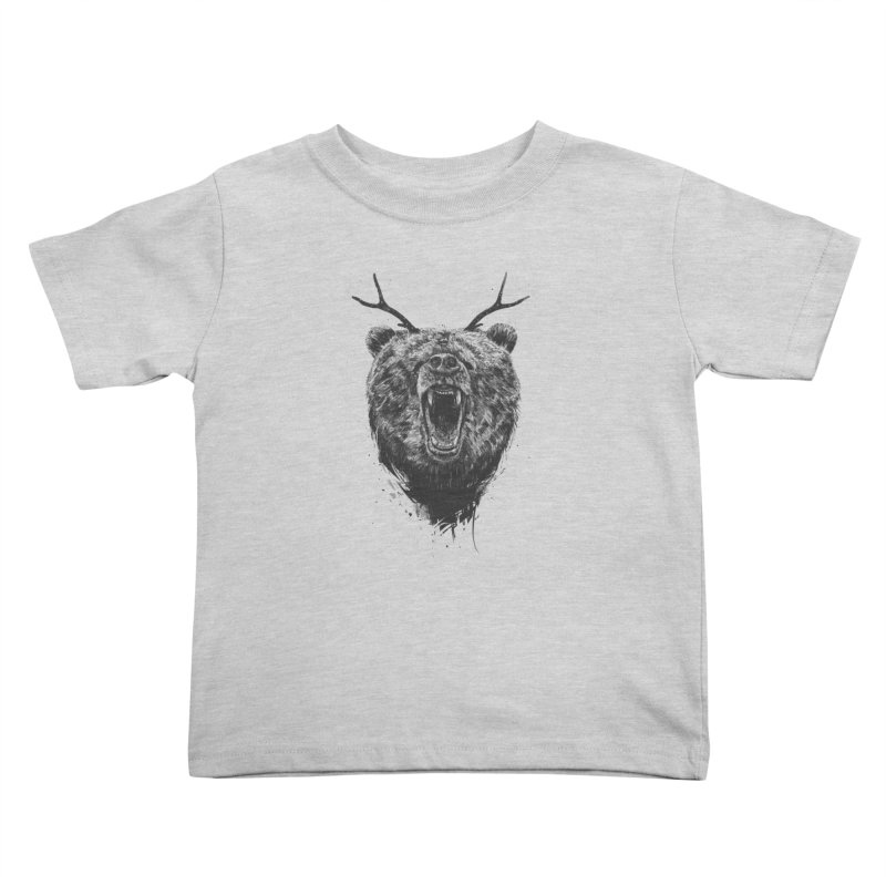 Angry bear with antlers Kids Toddler T-Shirt by Balazs Solti
