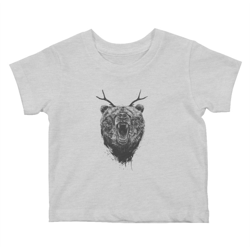 Angry bear with antlers Kids Baby T-Shirt by Balazs Solti