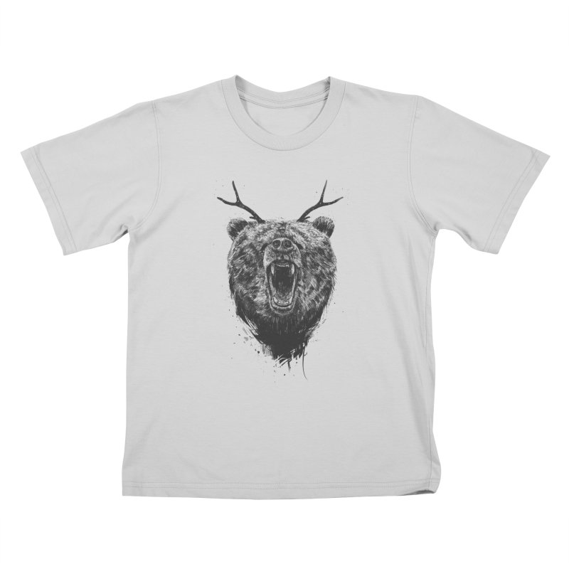 Angry bear with antlers Kids T-Shirt by Balazs Solti