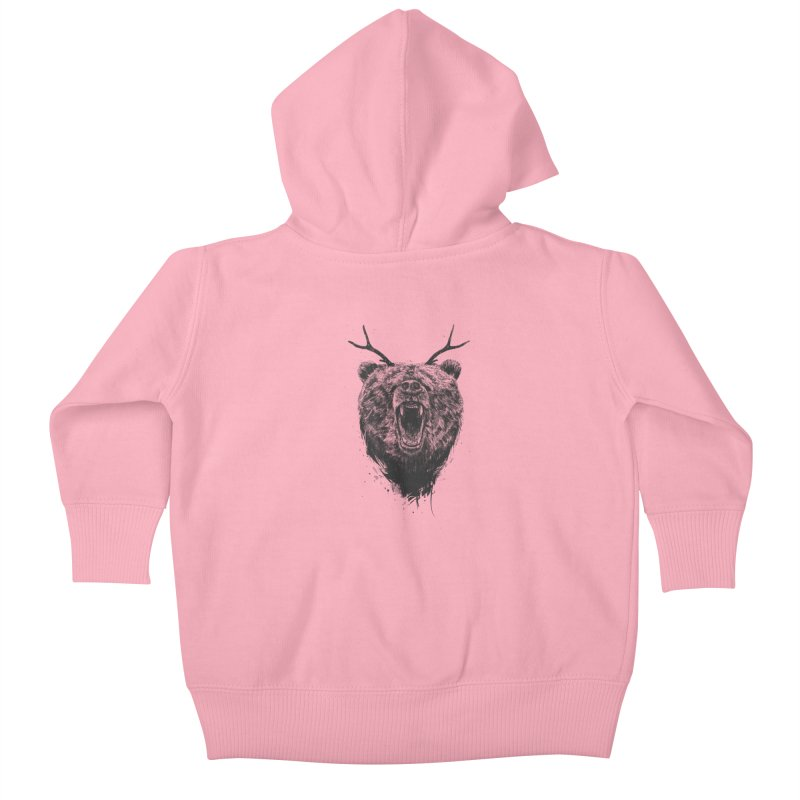 Angry bear with antlers Kids Baby Zip-Up Hoody by Balazs Solti