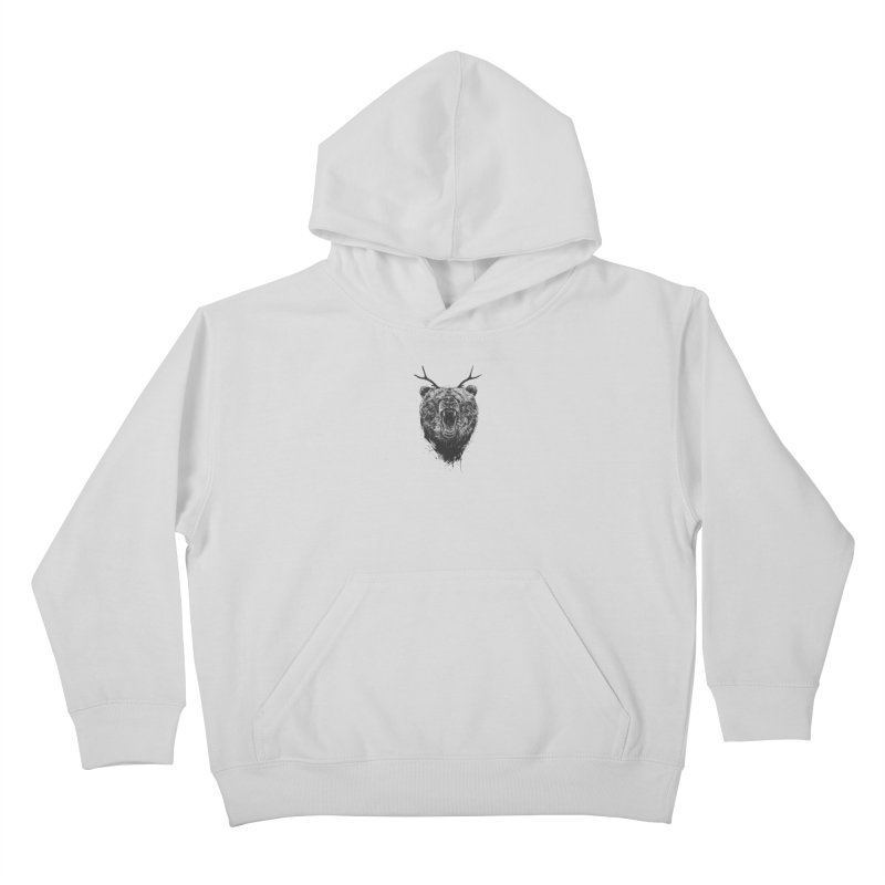 Angry bear with antlers Kids Pullover Hoody by Balazs Solti