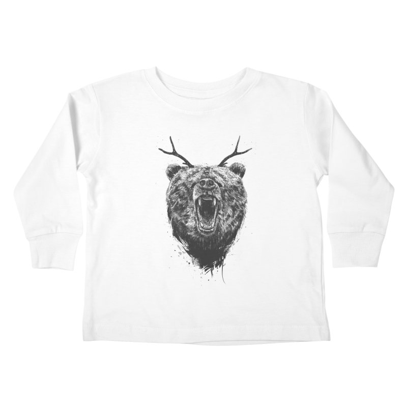 Angry bear with antlers Kids Toddler Longsleeve T-Shirt by Balazs Solti