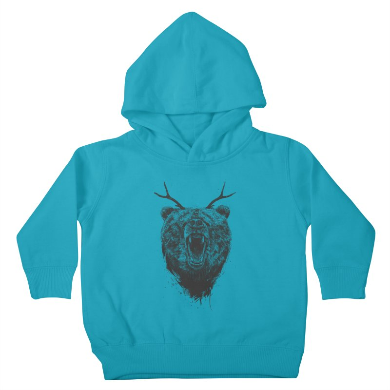 Angry bear with antlers Kids Toddler Pullover Hoody by Balazs Solti