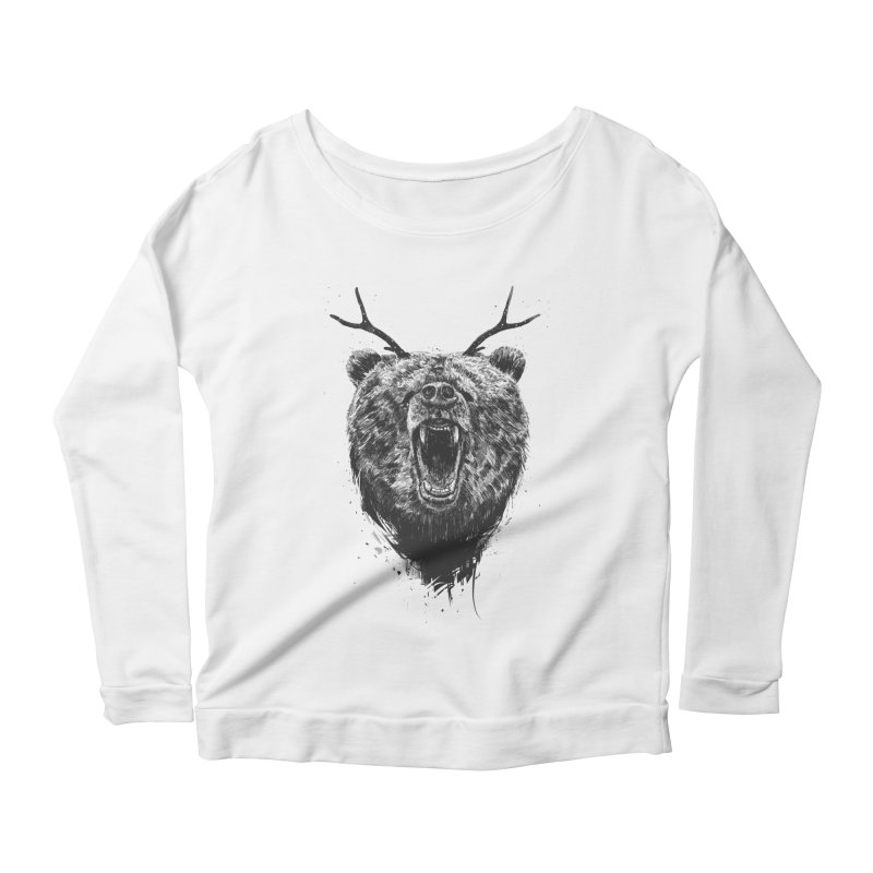 Angry bear with antlers Women's Scoop Neck Longsleeve T-Shirt by Balazs Solti