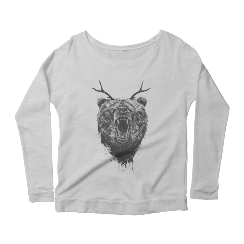 Angry bear with antlers Women's Longsleeve T-Shirt by Balazs Solti