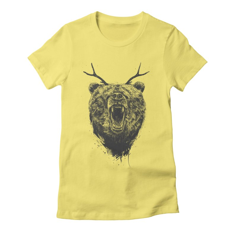 Angry bear with antlers Women's Fitted T-Shirt by Balazs Solti