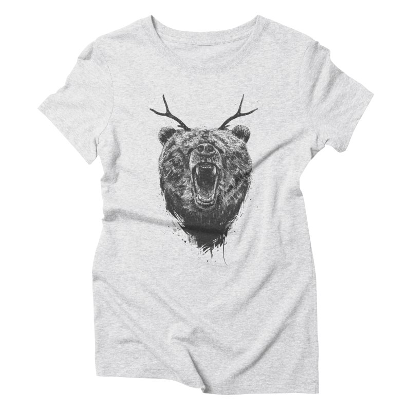 Angry bear with antlers Women's Triblend T-Shirt by Balazs Solti