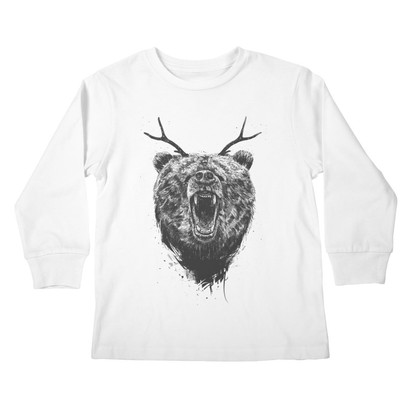Angry bear with antlers Kids Longsleeve T-Shirt by Balazs Solti
