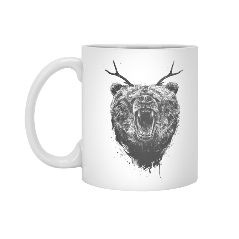 Angry bear with antlers Accessories Standard Mug by Balazs Solti