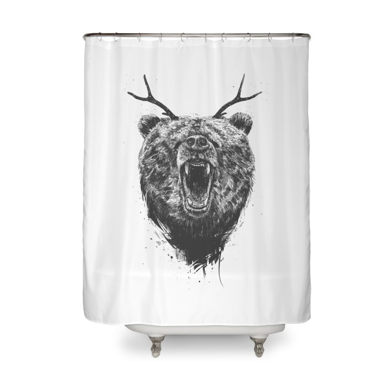 Angry bear with antlers Home Shower Curtain by Balazs Solti