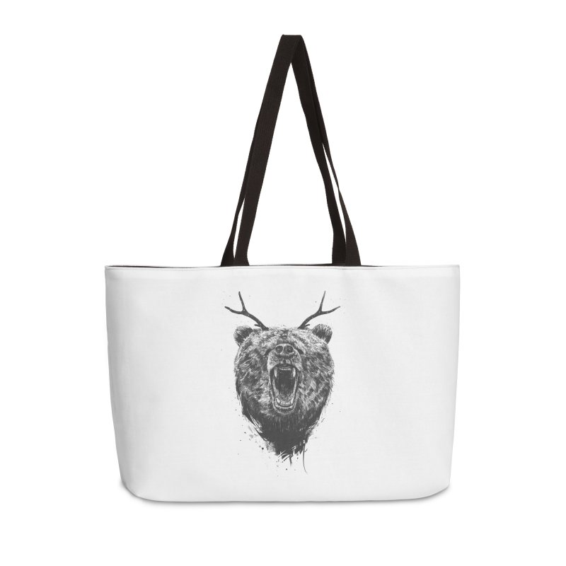Angry bear with antlers Accessories Weekender Bag Bag by Balazs Solti