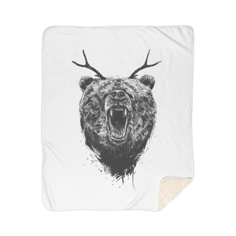 Angry bear with antlers Home Sherpa Blanket Blanket by Balazs Solti
