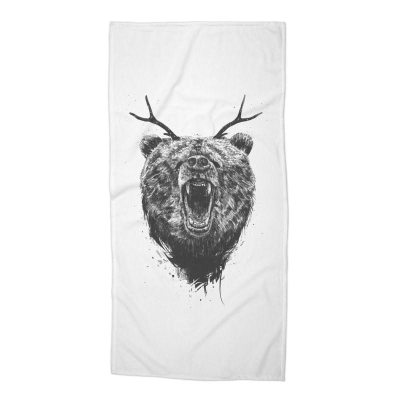 Angry bear with antlers Accessories Beach Towel by Balazs Solti