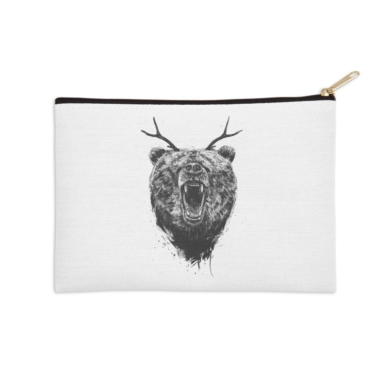 Angry bear with antlers Accessories Zip Pouch by Balazs Solti