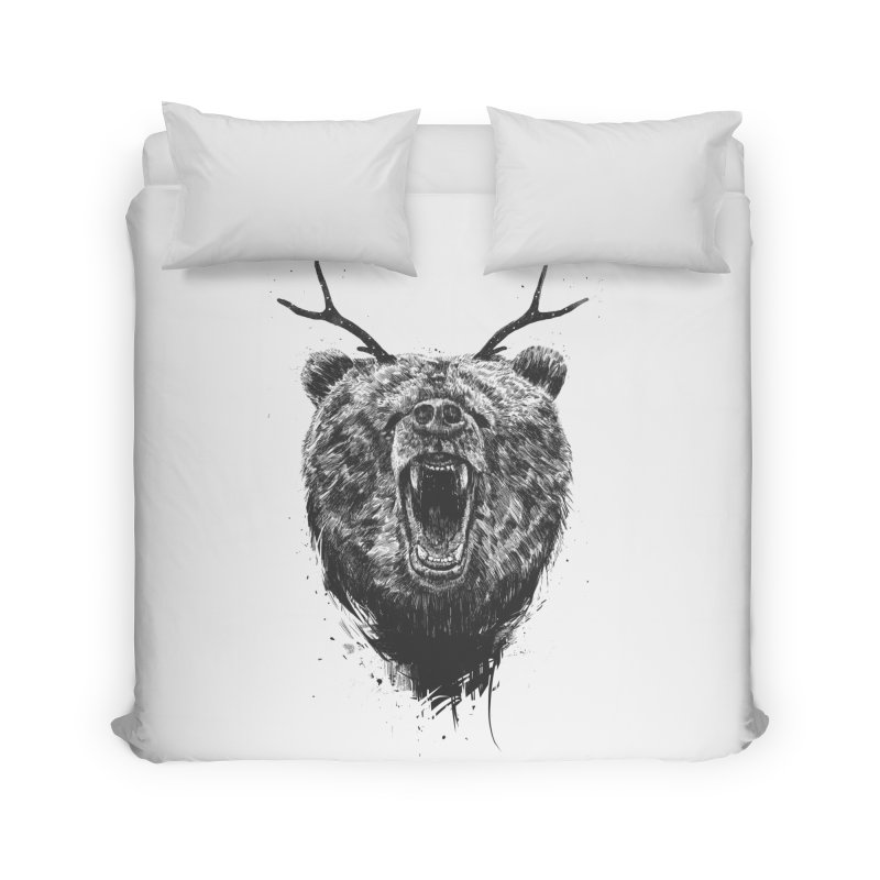 Angry bear with antlers Home Duvet by Balazs Solti