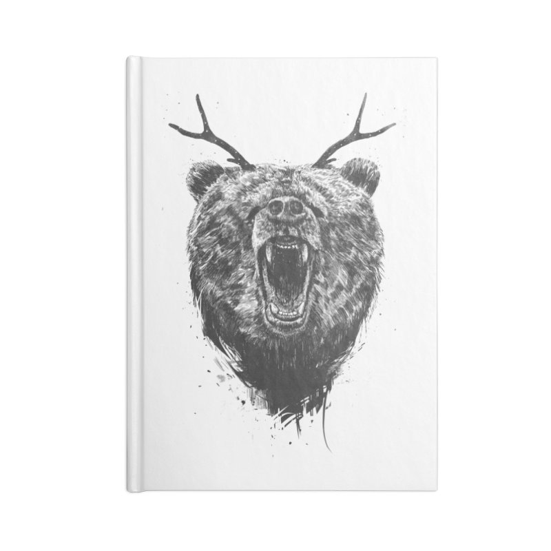 Angry bear with antlers Accessories Lined Journal Notebook by Balazs Solti