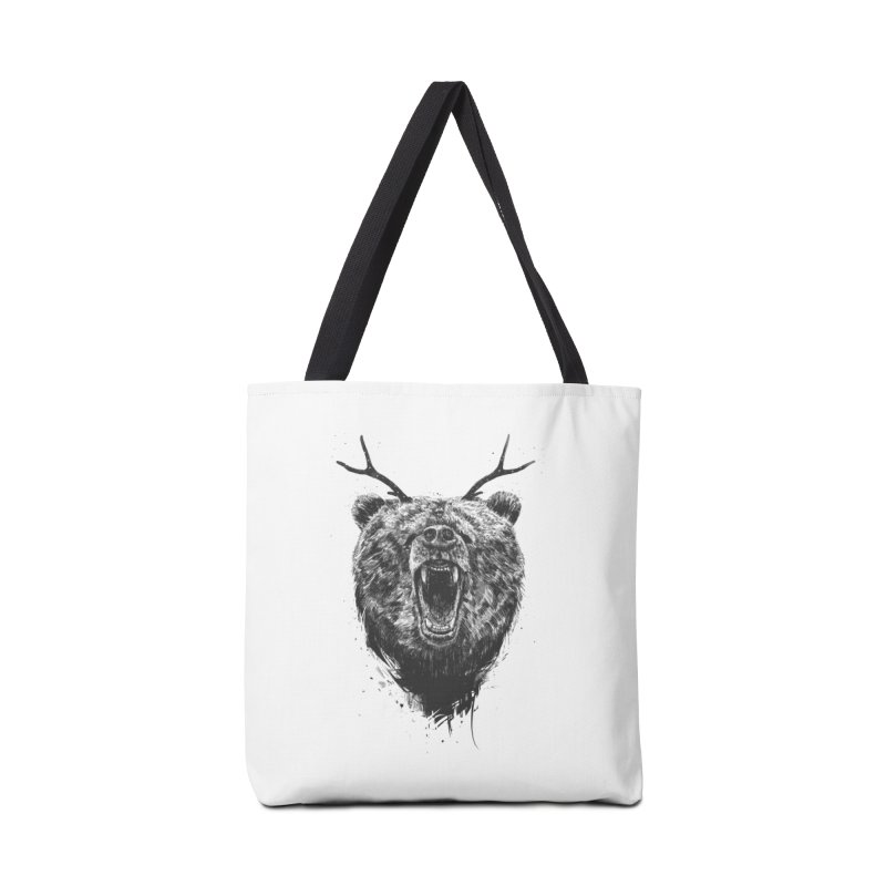 Angry bear with antlers Accessories Tote Bag Bag by Balazs Solti