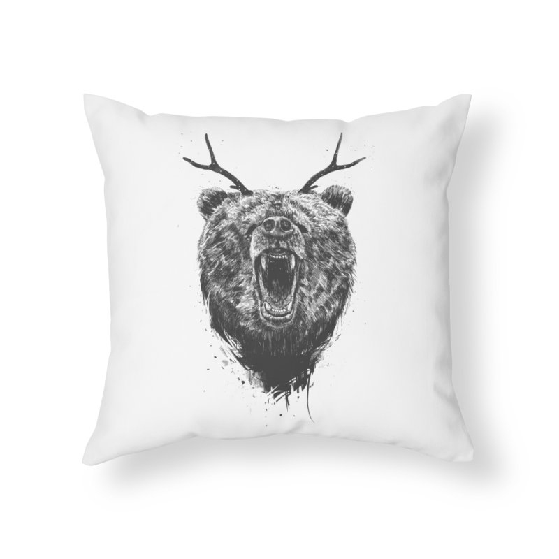 Angry bear with antlers Home Throw Pillow by Balazs Solti
