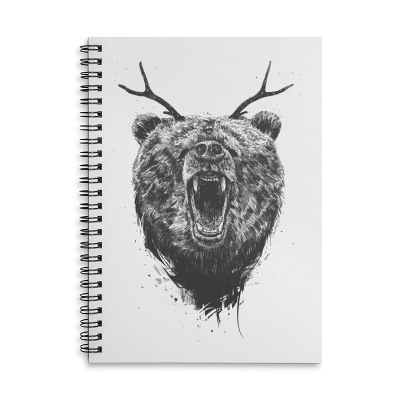 Angry bear with antlers Accessories Lined Spiral Notebook by Balazs Solti
