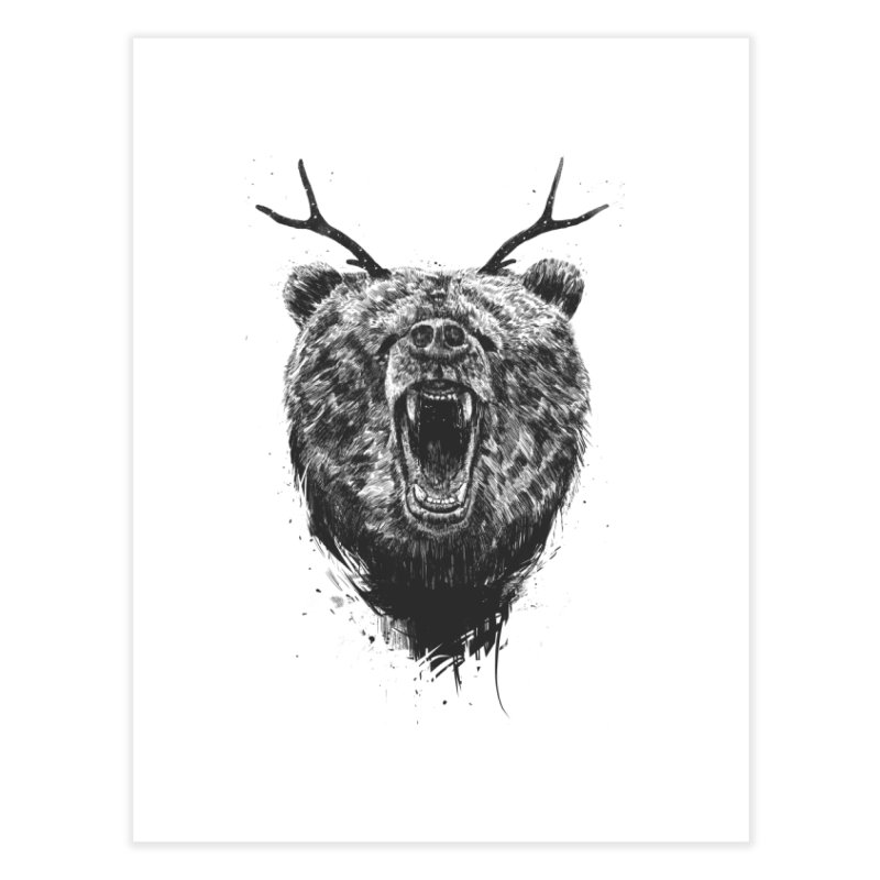 Angry bear with antlers Home Fine Art Print by Balazs Solti
