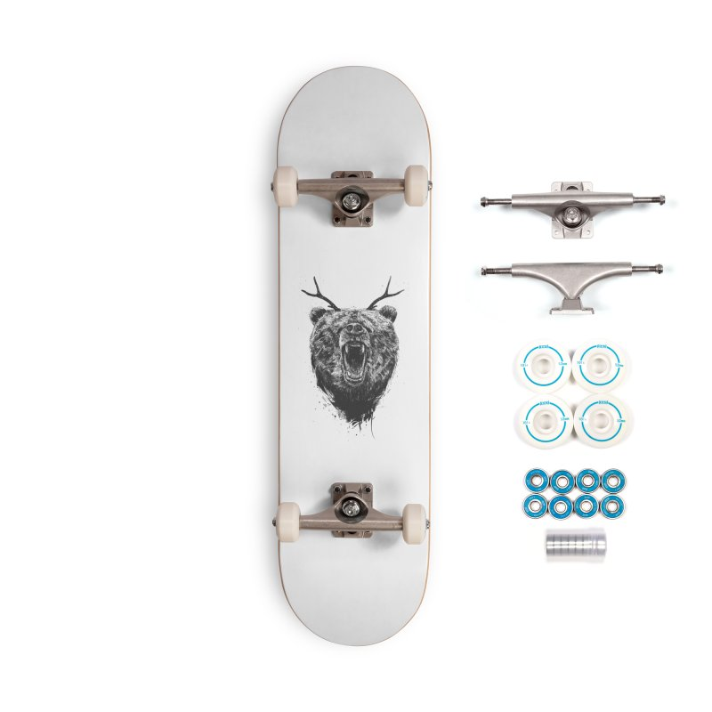 Angry bear with antlers Accessories Complete - Basic Skateboard by Balazs Solti