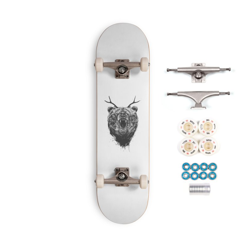 Angry bear with antlers Accessories Complete - Premium Skateboard by Balazs Solti