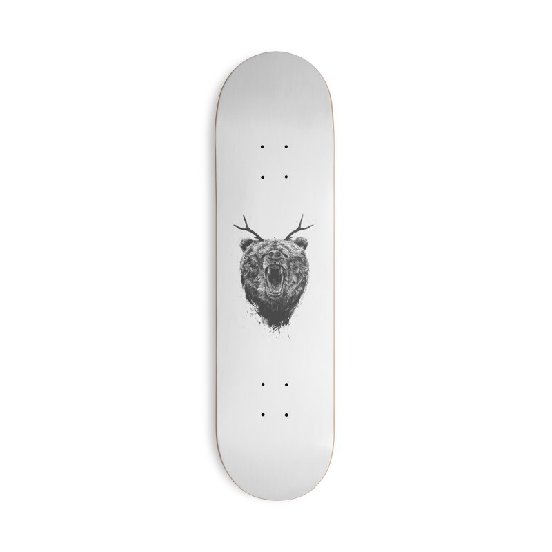 Angry bear with antlers Accessories Skateboard by Balazs Solti
