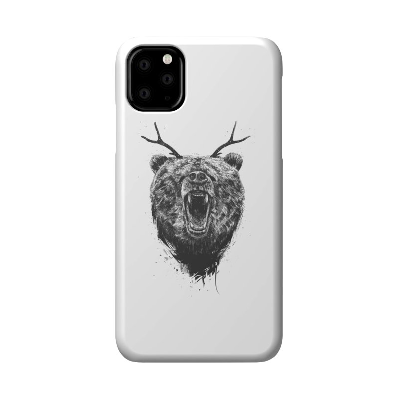 Angry bear with antlers Accessories Phone Case by Balazs Solti