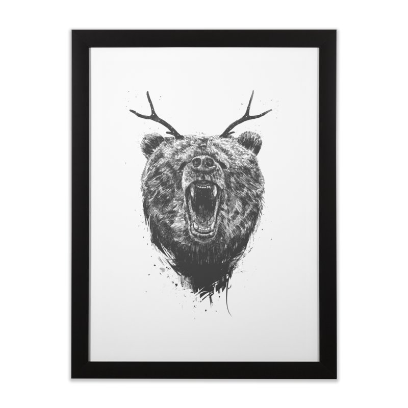 Angry bear with antlers Home Framed Fine Art Print by Balazs Solti
