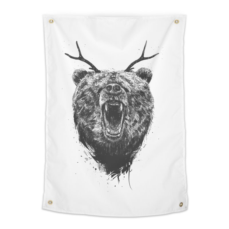 Angry bear with antlers Home Tapestry by Balazs Solti