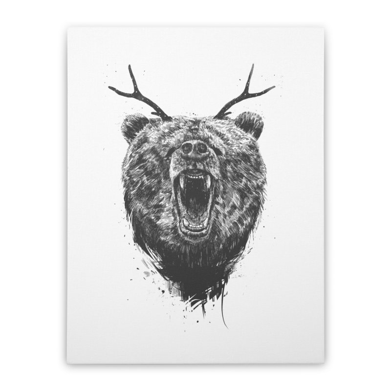 Angry bear with antlers Home Stretched Canvas by Balazs Solti