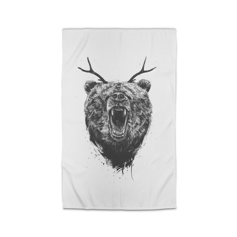 Angry bear with antlers Home Rug by Balazs Solti
