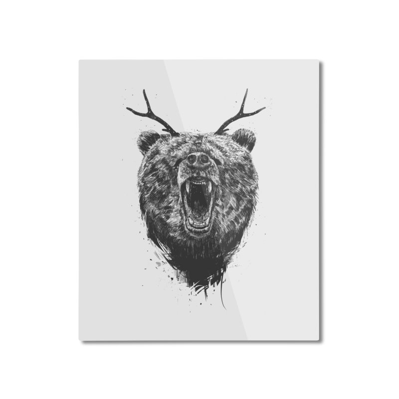 Angry bear with antlers Home Mounted Aluminum Print by Balazs Solti