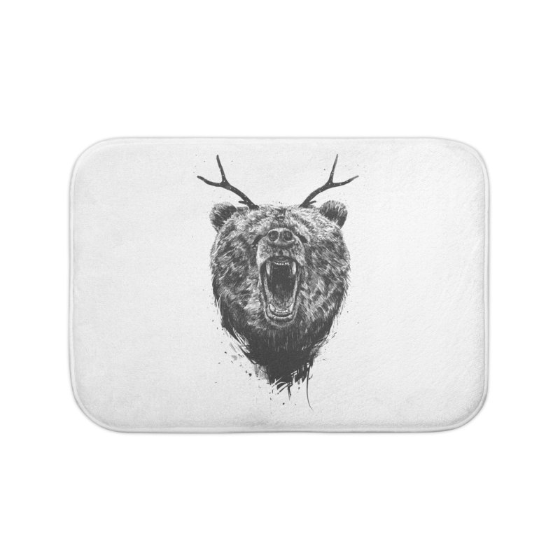 Angry bear with antlers Home Bath Mat by Balazs Solti